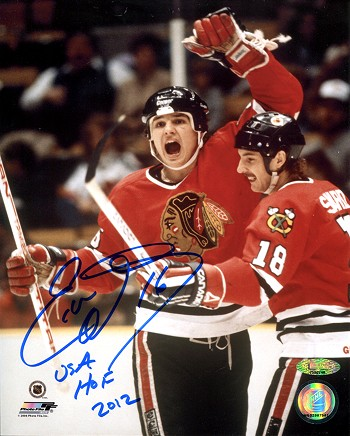 Eddie Olczyk Autographed Chicago Blackhawks 8x10 Inscribed HOF