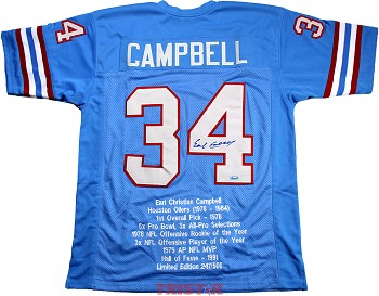 Earl Campbell Autographed Houston Oilers Stat Jersey