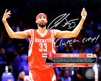 Corey Brewer Autographed Houston Rockets 8x10 Photo Inscribed Clutch City!