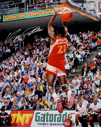 Dominique Wilkins Autographed Atlanta Hawks Slam Dunk Contest 16x20 Photo