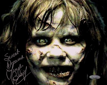 Linda Blair Autographed Exorcist Demon Close-Up 8x10 Photo Inscribed Sweet Dreams