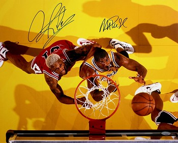 Magic Johnson & Dennis Rodman Autographed Lakers vs Bulls 16x20 Photo