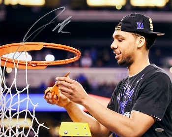 Jahlil Okafor Autographed Duke 2015 Champions Cutting Net 16x20 Photo