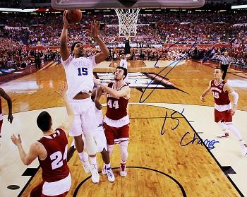 Jahlil Okafor Autographed Duke 2015 Championship 16x20 Photo Inscribed 15 Champs