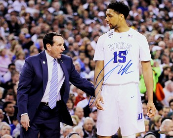 Jahlil Okafor Autographed Duke Blue Devils with Coach Mike Krzyzewski 16x20 Photo
