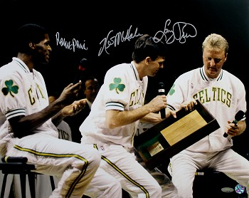 Larry Bird, Robert Parish & Kevin McHale Autographed Celtics Retirement 16x20 Photo