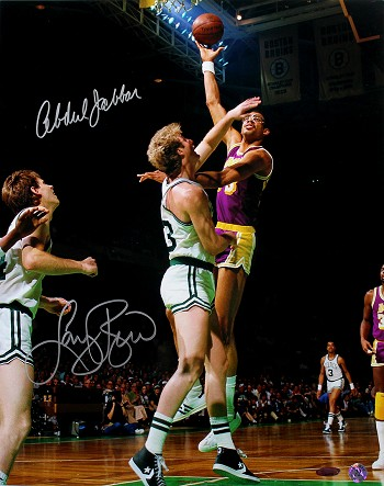 Larry Bird & Kareem Abdul-Jabbar Autographed 16x20 Photo