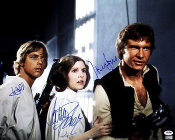 Harrison Ford, Carrie Fisher & Mark Hamill Autographed Star Wars 16x20 Photo