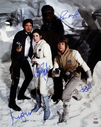 Harrison Ford, Carrie Fisher, Mark Hamill & Peter Mayhew Autographed Star Wars 16x20 Photo