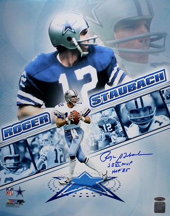 Roger Staubach Autographed Cowboys Collage 16x20 Photo Inscribed SB MVP, HOF