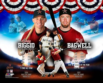 Jeff Bagwell & Craig Biggio Autographed Hall of Fame Collage 16x20 Photo Inscribed