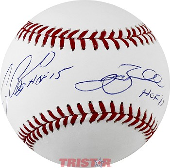 Jeff Bagwell & Craig Biggio Autographed Official ML Baseball Inscribed HOF
