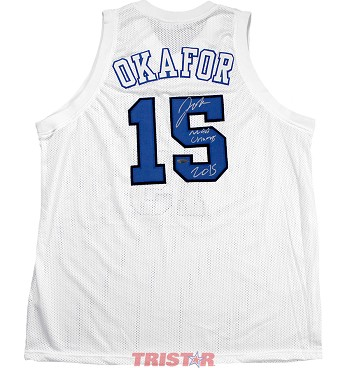 Jahlil Okafor Autographed Duke Custom Jersey Inscribed NCAA Champs 2015