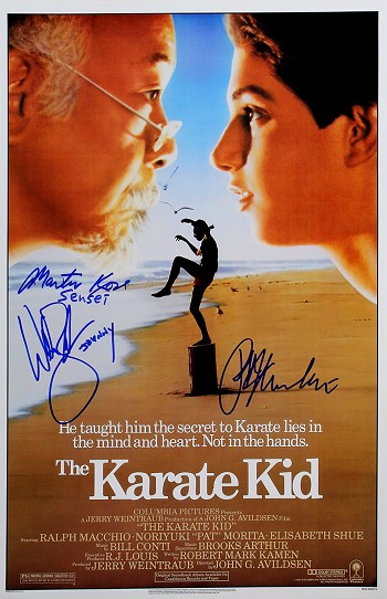 Macchio, Zabka & Kove Autographed The Karate Kid 11x17 Mini Movie Poster