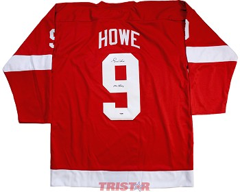 Gordie Howe Autographed Red Wings Red Custom Jersey Inscribed Mr. Hockey