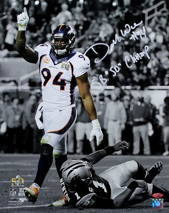 DeMarcus Ware Autographed Denver Broncos 16x20 Photo Inscribed SB 50 Champs
