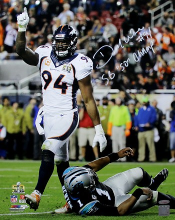 DeMarcus Ware Autographed Broncos Super Bowl 50 16x20 Photo Inscribed SB 50 Champs