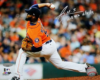 Francis Martes Autographed Houston Astros 8x10 Photo Inscribed 1st MLB Win