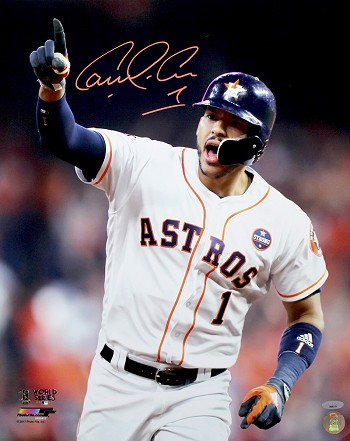 Carlos Correa Autographed 2017 World Series 16x20 Photo