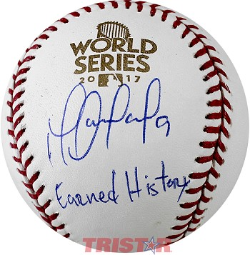 Marwin Gonzalez Autographed 2017 World Series Baseball Inscribed Earned History