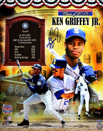 Ken Griffey Jr. Autographed Hall of Fame Commemorative 8x10 Photo