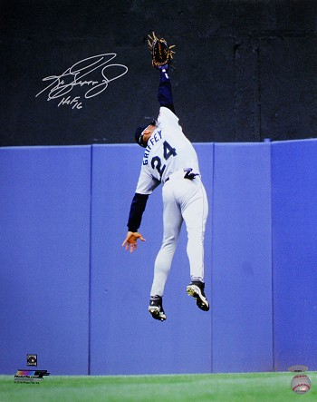 Ken Griffey Jr. Autographed Seattle Mariners 16x20 Photo Inscribed HOF 16