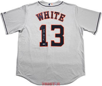 Tyler White Autographed Houston Astros Gray Jersey Inscribed Great White