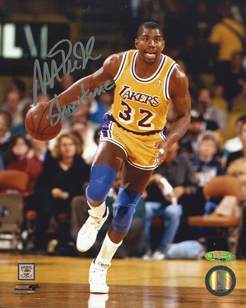 Magic Johnson Autographed Los Angeles Lakers 8x10 Photo Inscribed Showtime