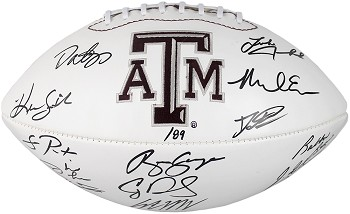 Texas A&M Aggies Autographed Logo Football - 14 Signatures LE of 112