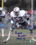 Robert Brazile Autographed Houston Oilers 8x10 Photo Inscribed HOF 18