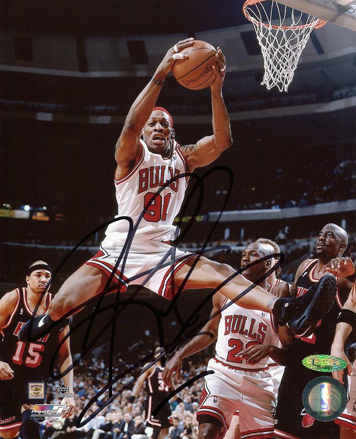Dennis Rodman Autographed Chicago Bulls Mid Air X Photo