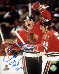 Eddie Olczyk Autographed Chicago Blackhawks 8x10 Inscribed HOF 2012