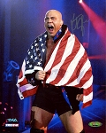 Kurt Angle Autographed US Flag 8x10 Photo