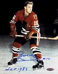 Bobby Hull Autographed Blackhawks 8x10 Photo Inscribed HOF 1983