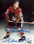 Bobby Hull Autographed Chicago Blackhawks 8x10 Photo Inscribed The Golden Jet