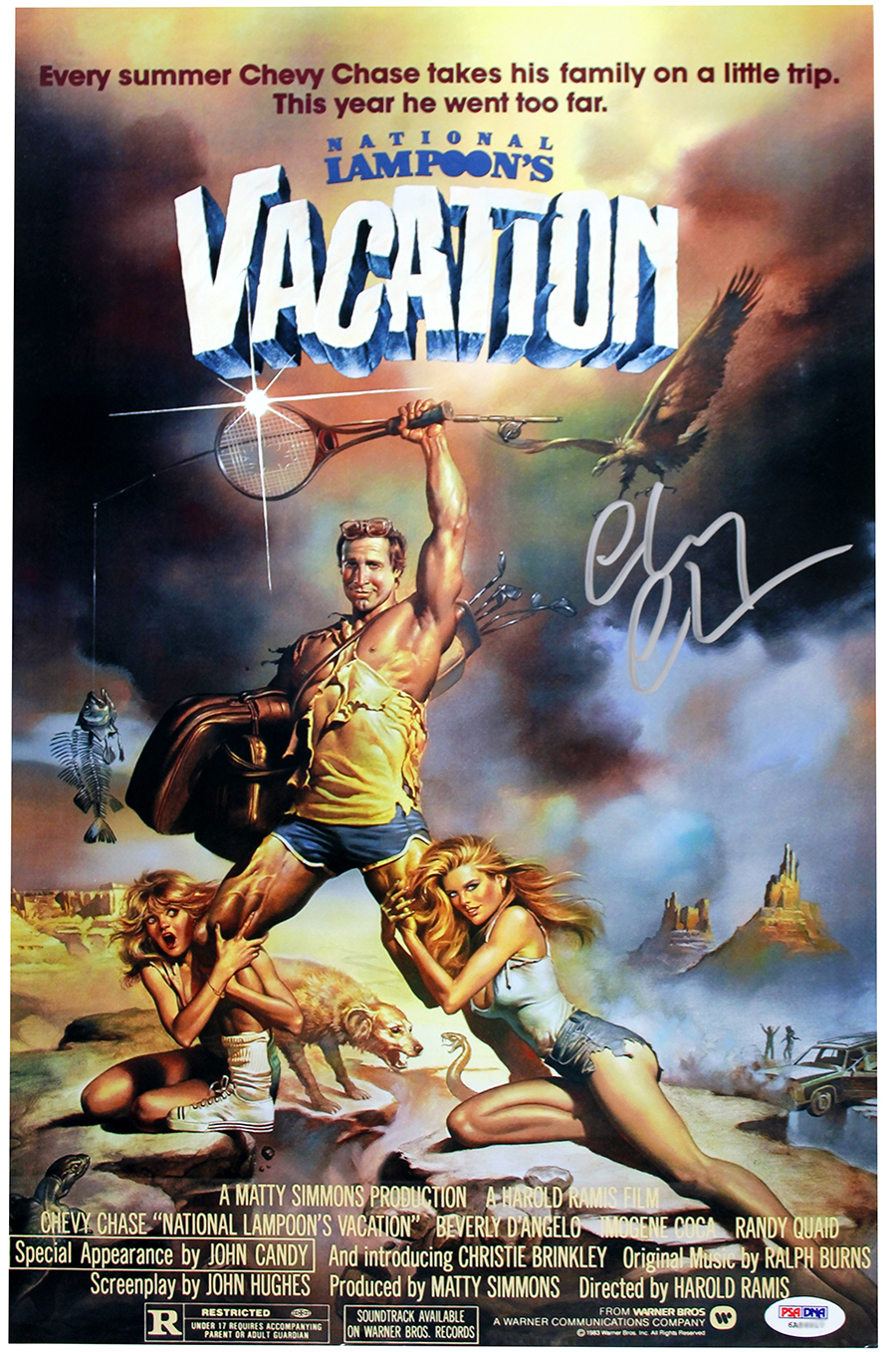 chevy chase autographed vacation 11x17 movie poster