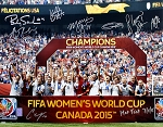 USA Women's Soccer Team Autographed 2015 World Cup 16x20 Photo Inscribed