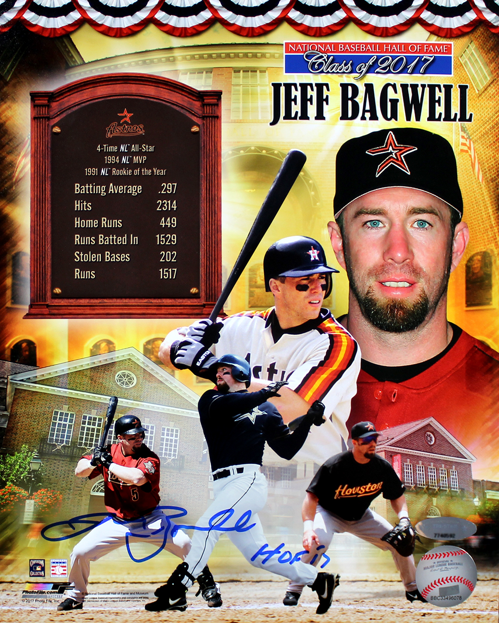 Jeff Bagwell Autographed Hall Of Fame Tribute Collage 8x10