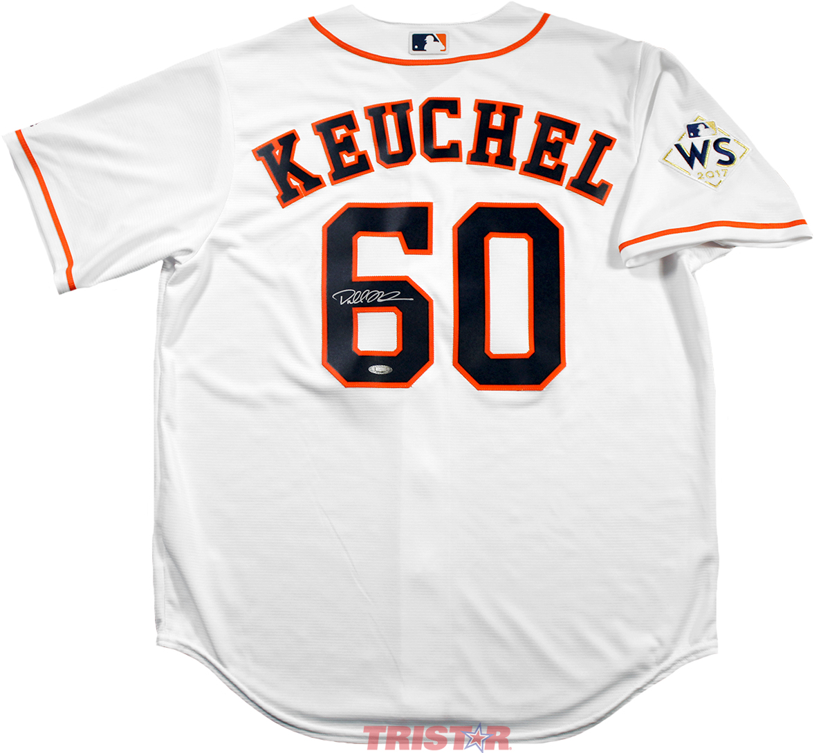 bf57a40af1426 Home   Exclusive Team   Dallas Keuchel Autographed Houston Astros Replica  Jersey with WS Champs Patch