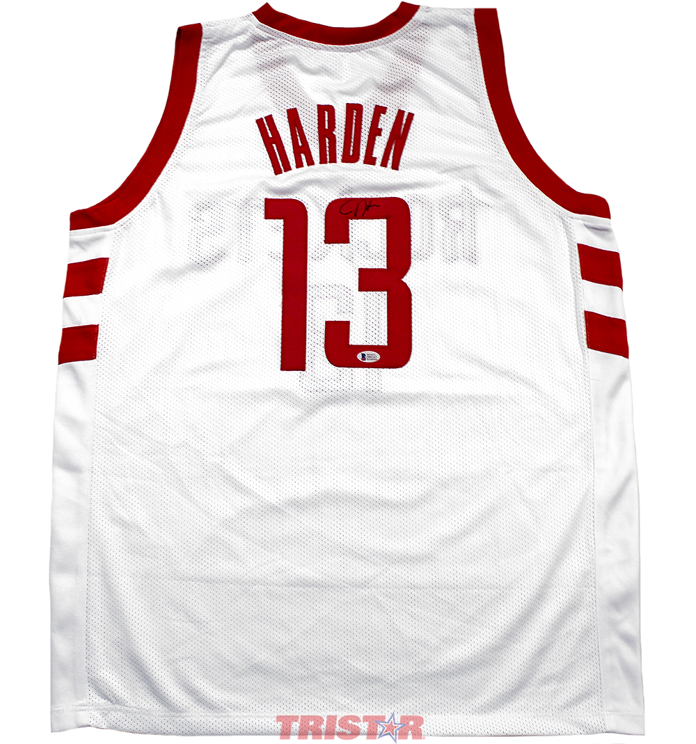 d7076562d James Harden Autographed Houston Rockets White Custom Jersey