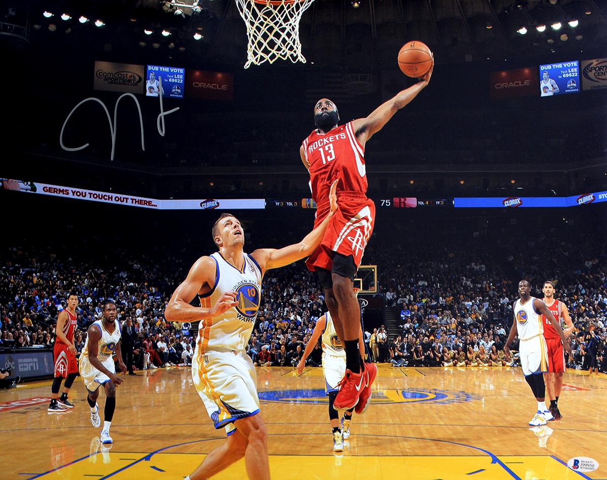 new styles 15327 a3e18 James Harden Autographed Houston Rockets Dunk vs Warriors 16x20 Photo
