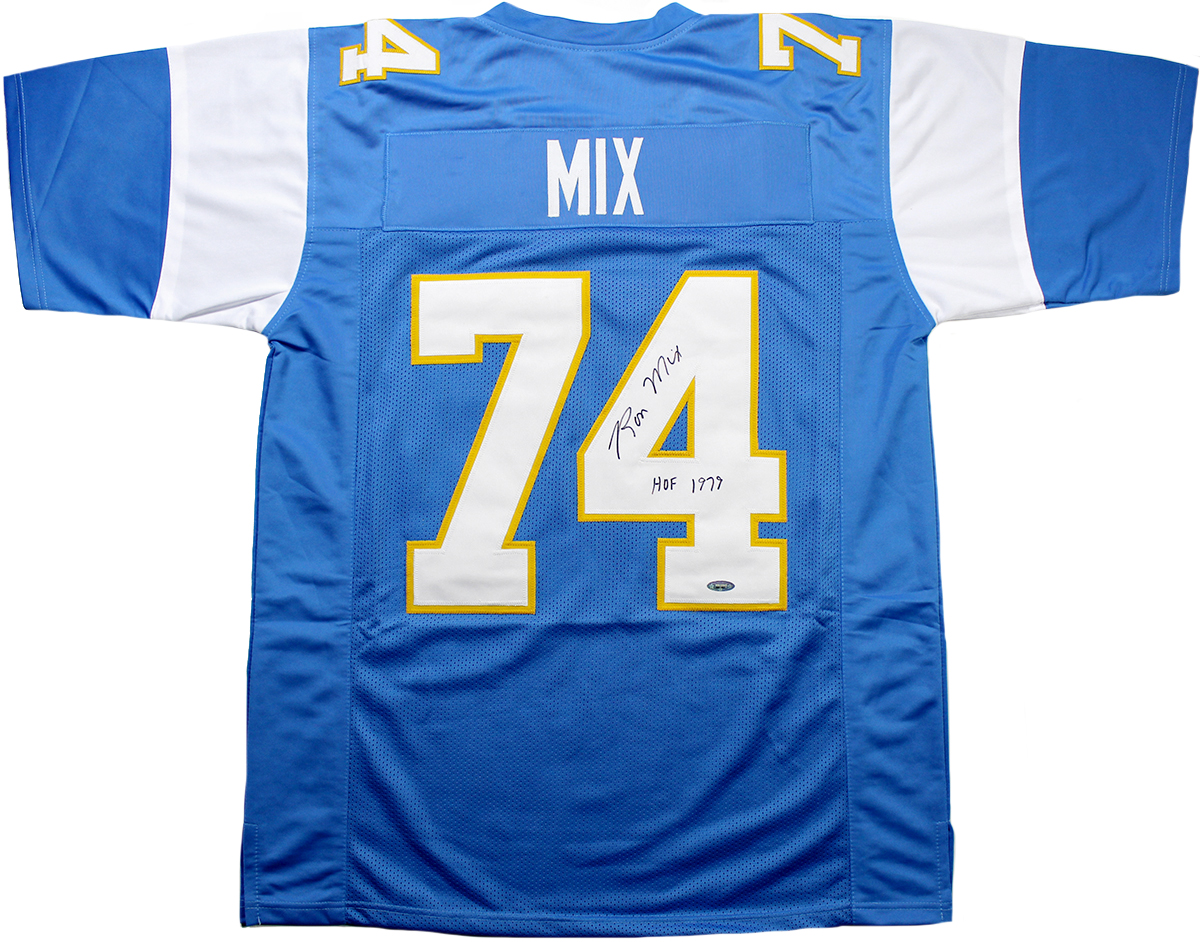 46b2ab97e Ron Mix Autographed San Diego Chargers Custom Jersey Inscribed ...