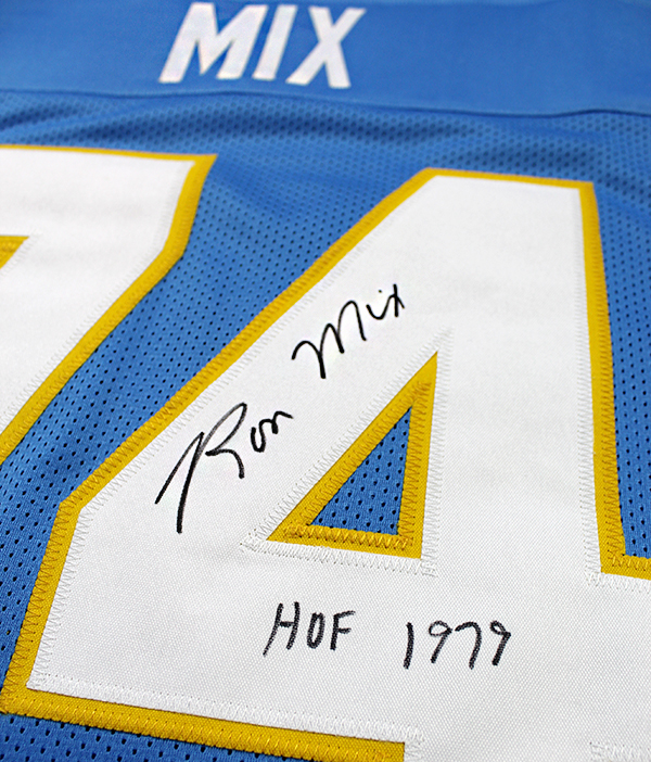 bd23ce5ca Ron Mix Autographed San Diego Chargers Custom Jersey Inscribed HOF 79