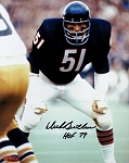 Dick Butkus Autographed Chicago Bears Hands on Knees 8x10 Photo Inscribed HOF 79