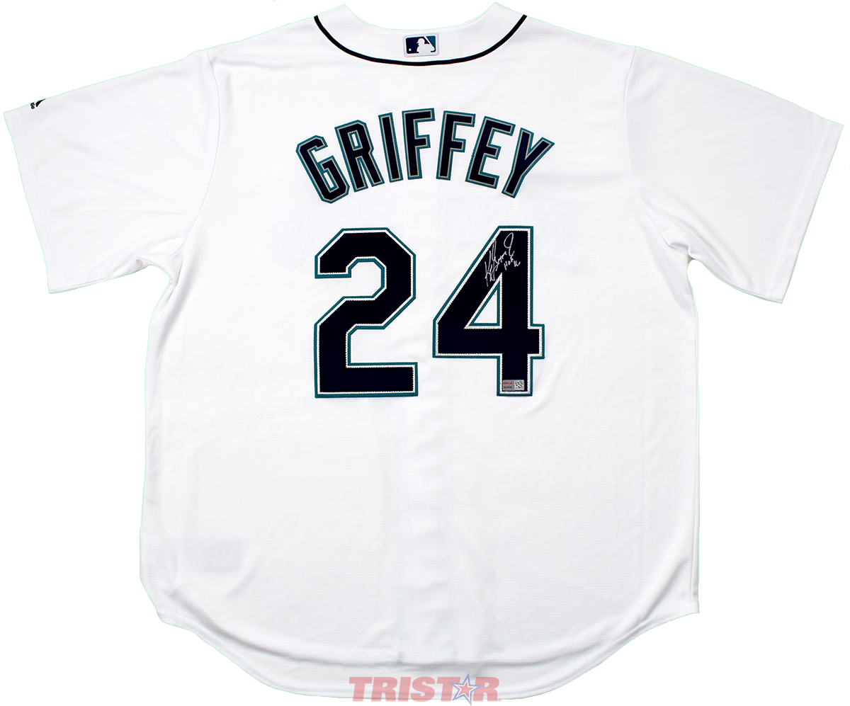new concept 52f90 7dc40 Ken Griffey Jr. Autographed Seattle Mariners White Majestic Jersey  Inscribed HOF 16