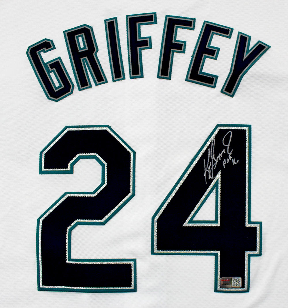 2186bb08430 Ken Griffey Jr. Autographed Seattle Mariners White Majestic Jersey ...
