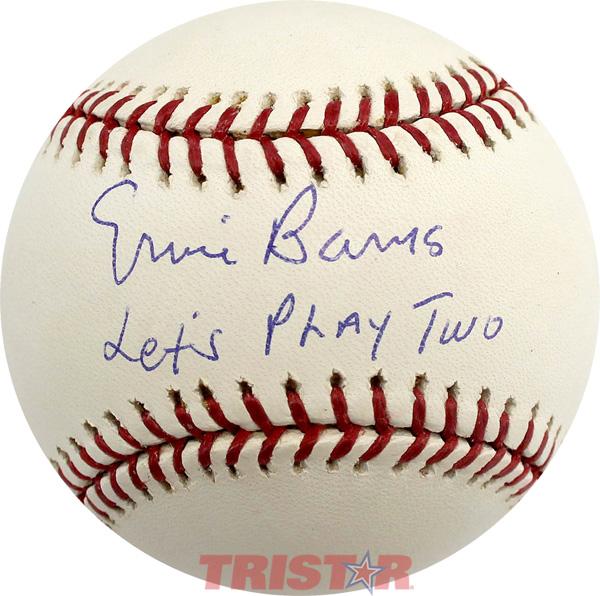 JSA COA Ernie Banks Autographed Chicago Cubs Custom White Baseball Jersey Lets Play Two Inscription