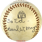 Carl Mays Autographed Rare Vintage International Baseball PSA/DNA Grade 6