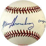 Marv Throneberry Autographed Official NL Baseball Inscribed Original Met 1962