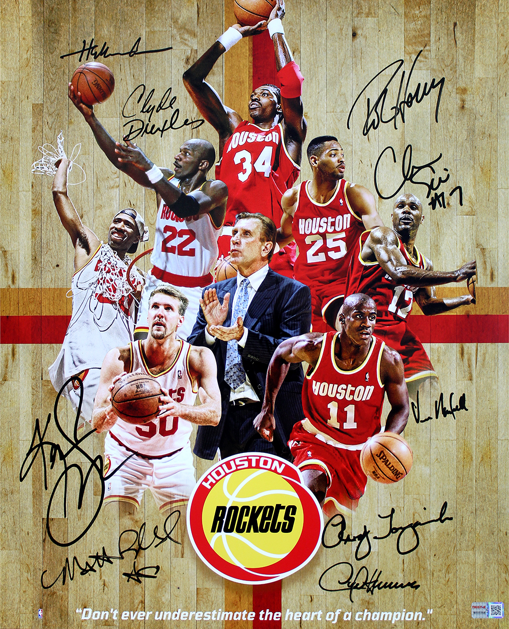 Houston Rockets 1994-1995 Champions Team Autographed 16x20 ...